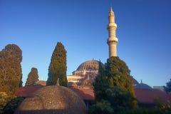 Suleiman清真寺的尖塔  免版税图库摄影