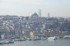 Suleiman清真寺的看法壮观的1月早晨 伊斯坦布尔 免版税库存图片