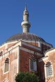 Suleiman moské i den gammala townen av Rhodes Arkivbilder