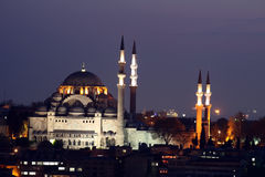 Suleiman Mosque. A silhouetted view of the majestic Suleiman Mosque in Istanbul at sunset Stock Image