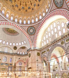 Suleiman Mosque inside. A  view of the inside of the majestically decorated Suleiman Mosque, Istanbul, Turkey Royalty Free Stock Image