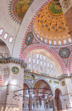 Suleiman Mosque interior 04. A view of the interior of the Suleiman mosque situated in the Turkish city of Istanbul Stock Photo
