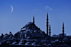 Suleiman Mosque at night Stock Photo