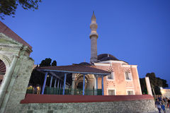Suleiman Mosque in Rhodes old town by night. Greece Stock Image