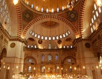 Sulemaniye Mosque Interior. Interior view of Istanbul´s Famous Sulemaniye Mosque Stock Photography