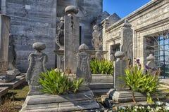 Suleymaniye有传奇土耳其语s的坟茔的清真寺公墓 图库摄影