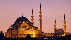 Suleymaniye清真寺伊斯坦布尔日落 免版税库存图片