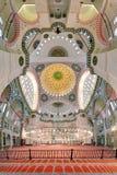 Suleymaniye清真寺内部在伊斯坦布尔,土耳其 库存图片
