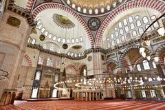 Suleymaniye清真寺在伊斯坦布尔土耳其-内部 图库摄影