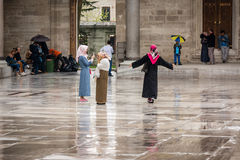 Suleymaniye清真寺的庭院在伊斯坦布尔 免版税库存照片