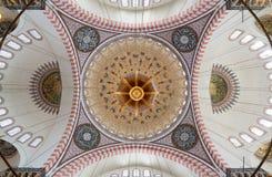 Suleymaniye清真寺,伊斯坦布尔,土耳其装饰的天花板  库存图片