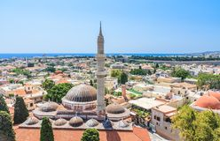 Suleymaniye清真寺 老城镇 罗得斯 希腊 免版税图库摄影