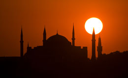 Suleymaniye Istanbul sunset. Silhouette of Suleymaniye mosque at sunset in Istanbul, Turkey Stock Photos