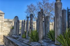 Suleymaniye Meczetowy cmentarz z grobowem legendarny turecki s Zdjęcia Royalty Free