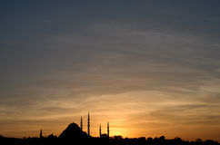 Suleymaniye Moschee am Sonnenuntergang stockfotografie