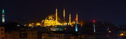 Suleymaniye-Moscheen-Nachtansicht, das größte in der Stadt, Istanbul, die Türkei Lizenzfreie Stockbilder