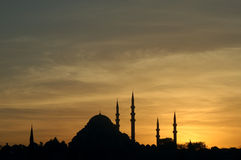 Suleymaniye Mosque. The Suleymaniye mosque in Istanbul, Turkey, at sunset. The Suleymaniye mosque was built in 1550-1557 by the architect Sinan in the order of Royalty Free Stock Photography