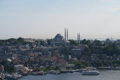 Suleymaniye Mosque as seen from Galata, in Istanbul, Turkey royalty free stock images