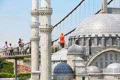 Suleymaniye Mosque  and Bosphorus Bridge Stock Photography