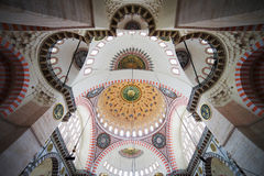 Suleymaniye Mosque Ceiling. Suleymaniye Mosque (Ottoman imperial mosque) ornate interior ceiling in Istanbul, Turkey Stock Photo