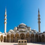 Suleymaniye Mosque. Courtyard Suleymaniye Mosque in Istanbul, Turkey on background blue sky Stock Images