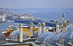 Suleymaniye mosque. The Suleymaniye crowns one of İstanbul`s seven hills and dominates the Golden Horn, providing a landmark for the entire city Royalty Free Stock Images