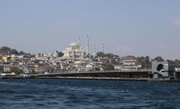 Suleymaniye Mosque and Galata Bridge in Istanbul City Stock Photography