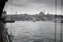 Suleymaniye Mosque from Galata Bridge. Suleymaniye Mosque. Taken from Galata Bridge stock images