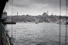 Suleymaniye Mosque from Galata Bridge Stock Images