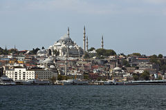 Suleymaniye Mosque from Goldenhorn Royalty Free Stock Photography