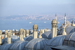 Suleymaniye Mosque, Halic, Istanbul. View from Suleymaniye Mosque built by the legendary Ottoman Sultan Suleiman the Magnificent overlooking the Golden Horn stock photography