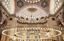 Suleymaniye Mosque interior. Suleymaniye Mosque (Ottoman Imperial mosque) interior ornate architecture in Istanbul, Turkey Royalty Free Stock Photo