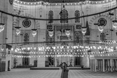 Suleymaniye mosque interior in black and white Royalty Free Stock Images