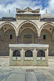 Suleymaniye Mosque, Istanbul. Courtyard of the Suleymaniye Mosque in Istanbul, Turkey with the ablution fountain in the center Royalty Free Stock Images