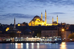 Suleymaniye Mosque at Istanbul Night Stock Photo