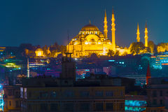 Suleymaniye Mosque at Istanbul Night Royalty Free Stock Photography
