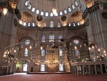 Suleymaniye mosque in Istanbul, Turkey. Interior of the Suleymaniye mosque in Istanbul, Turkey Stock Photography