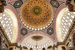 Suleymaniye Mosque in Istanbul Turkey - dome. Suleymaniye Mosque (Ottoman Imperial mosque) interior ornate architecture in Istanbul, Turkey Stock Photos