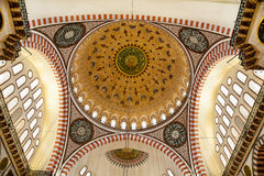Suleymaniye Mosque in Istanbul Turkey - dome. Suleymaniye Mosque (Ottoman Imperial mosque) interior ornate architecture in Istanbul, Turkey Royalty Free Stock Photography