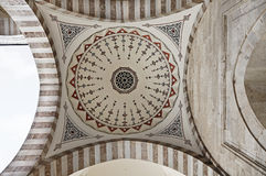 Suleymaniye Mosque in Istanbul Turkey - inner court - revak - arch. Suleymaniye Mosque (Ottoman Imperial mosque) interior ornate architecture in Istanbul, Turkey Stock Image
