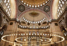 Suleymaniye Mosque in Istanbul Turkey - interior. Suleymaniye Mosque (Ottoman Imperial mosque) interior ornate architecture in Istanbul, Turkey Royalty Free Stock Photo