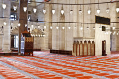 Suleymaniye Mosque in Istanbul Turkey - interior Royalty Free Stock Photo