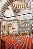 Suleymaniye Mosque in Istanbul Turkey - interior. Suleymaniye Mosque (Ottoman Imperial mosque) interior ornate architecture in Istanbul, Turkey Stock Photos