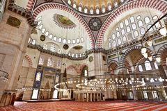 Suleymaniye Mosque in Istanbul Turkey - interior. Suleymaniye Mosque (Ottoman Imperial mosque) interior ornate architecture in Istanbul, Turkey Stock Photography