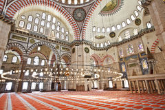 Suleymaniye Mosque in Istanbul Turkey - interior. Suleymaniye Mosque (Ottoman Imperial mosque) interior ornate architecture in Istanbul, Turkey Royalty Free Stock Photography