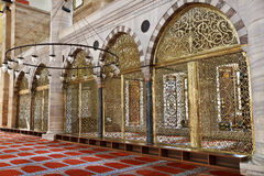 Suleymaniye Mosque in Istanbul Turkey - interior. Suleymaniye Mosque (Ottoman Imperial mosque) interior ornate architecture in Istanbul, Turkey Royalty Free Stock Image