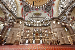 Suleymaniye Mosque in Istanbul Turkey - interior. Suleymaniye Mosque (Ottoman Imperial mosque) interior ornate architecture in Istanbul, Turkey Stock Image