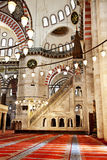 Suleymaniye Mosque in Istanbul Turkey - interior - pulpit. Suleymaniye Mosque (Ottoman Imperial mosque) interior ornate architecture in Istanbul, Turkey Stock Photography