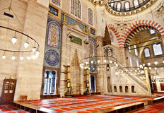 Suleymaniye Mosque in Istanbul Turkey - interior - pulpit. Suleymaniye Mosque (Ottoman Imperial mosque) interior ornate architecture in Istanbul, Turkey Stock Photos