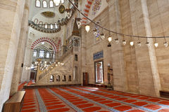 Suleymaniye Mosque in Istanbul Turkey - interior - pulpit Royalty Free Stock Photography